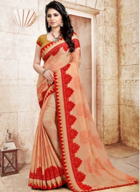 Peach and Red Print Work Trendy Saree