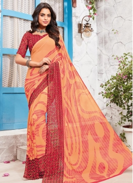 Peach and Red Traditional Saree For Casual