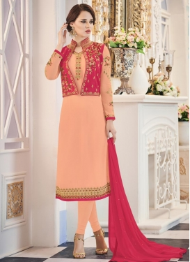 Peach and Rose Pink Banglori Silk Jacket Style Suit