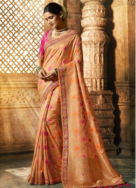 Peach and Rose Pink Beads Work Designer Traditional Saree