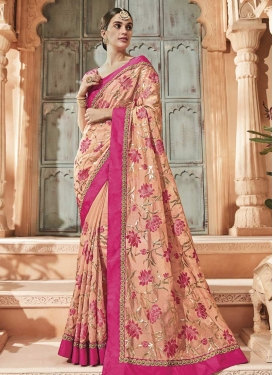Peach and Rose Pink Beads Work Traditional Designer Saree