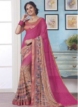 Peach and Rose Pink Classic Saree