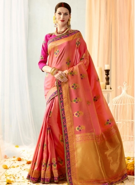 Peach and Rose Pink Contemporary Style Saree