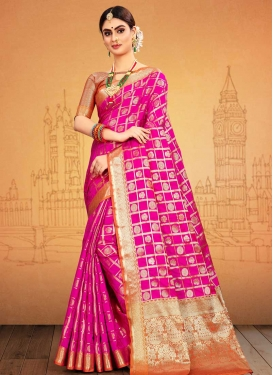Peach and Rose Pink Designer Contemporary Style Saree For Ceremonial