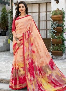 Peach and Rose Pink Digital Print Work Designer Traditional Saree