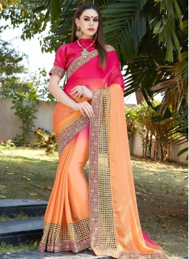 Peach and Rose Pink Faux Chiffon Traditional Designer Saree