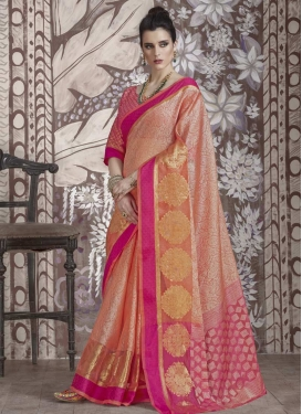 Peach and Rose Pink Thread Work Classic Saree