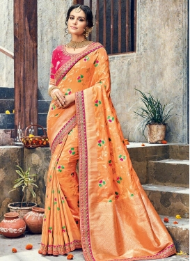 Peach and Rose Pink Traditional Saree For Ceremonial