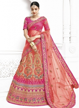 Peach and Rose Pink Trendy A Line Lehenga Choli