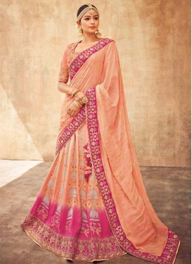 Peach and Rose Pink Trendy A Line Lehenga Choli For Party