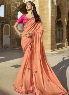 Peach and Rose Pink Trendy Saree