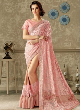 Peach and Salmon Lycra Half N Half Trendy Saree