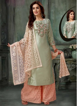Peach and Sea Green Art Silk Readymade Designer Suit