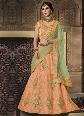 Peach and Sea Green Booti Work Designer Lehenga Choli