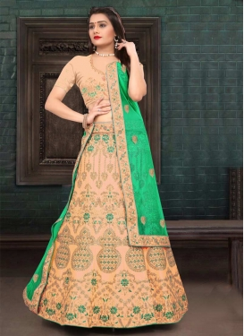 Peach and Sea Green Designer Classic Lehenga Choli