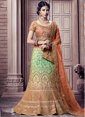 Peach and Turquoise Art Silk A - Line Lehenga