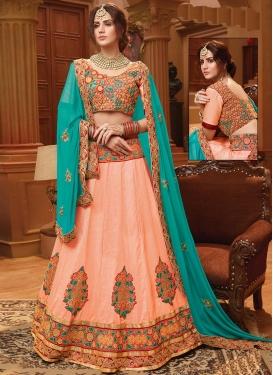 Peach and Turquoise Booti Work Trendy A Line Lehenga Choli