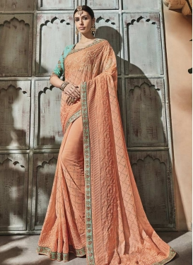 Peach and Turquoise Classic Saree