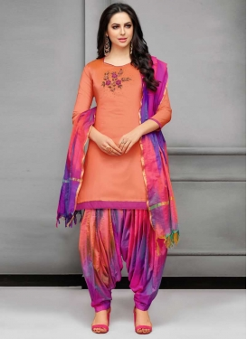 Peach and Violet Trendy Patiala Salwar Kameez