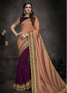 Peach and Wine Embroidered Work Half N Half Trendy Saree