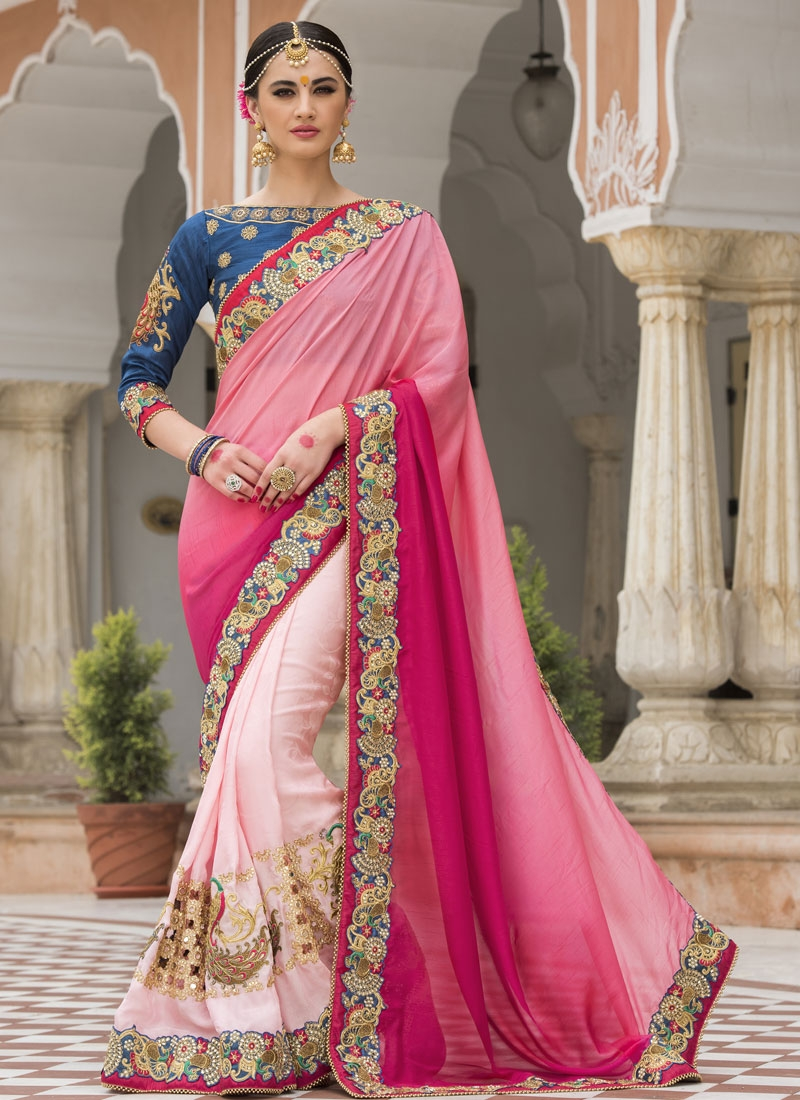Peppy Beads Work Silk Designer Half N Half Saree