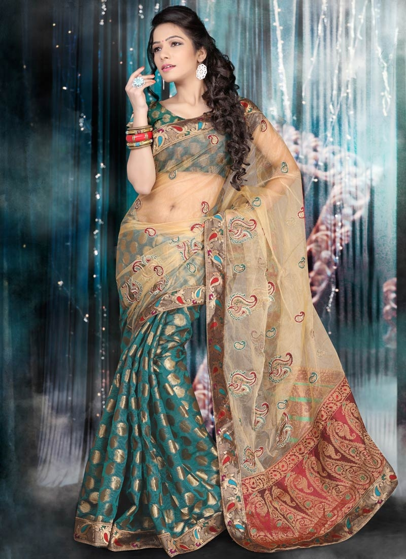 Peppy Booti Work Net Half N Half Party Wear Saree
