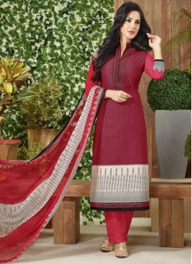 Peppy Crimson and Off White Lace Work Pant Style Pakistani Salwar Suit