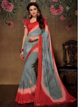 Peppy Digital Print Work Faux Georgette Grey and Peach Contemporary Saree For Festival
