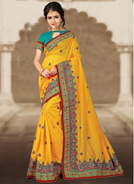 Peppy Embroidered Work Chanderi Silk Trendy Saree For Festival