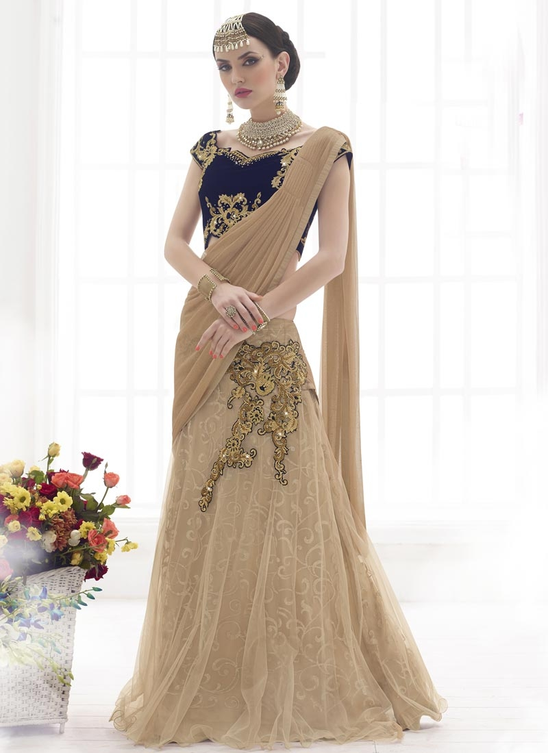 Peppy Gold Zardosi Work Designer Lehenga Saree