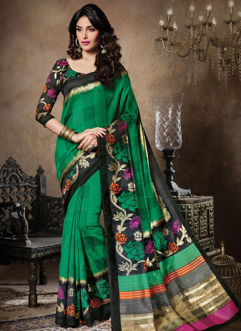 Peppy Green Color Art Silk Casual Saree