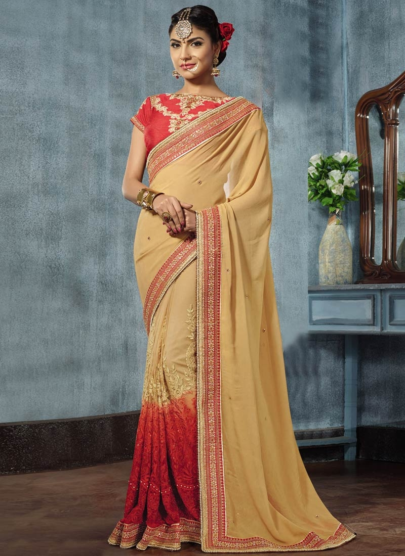Peppy Lace Work Faux Georgette Designer Saree