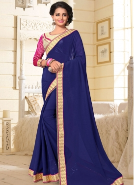 Peppy Lace Work Faux Georgette Navy Blue Trendy Classic Saree For Casual