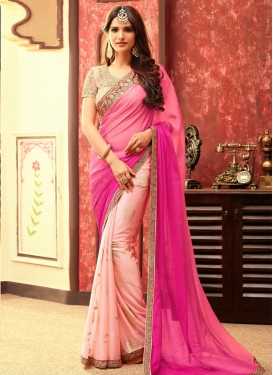 Peppy Rose Pink and Salmon Designer Half N Half Saree