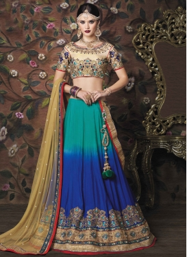 Perfect Art Silk Beige and Blue Embroidered Work Designer A Line Lehenga Choli