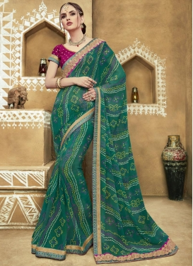 Perfect  Bandhej Print Work Faux Georgette Contemporary Saree