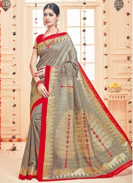 Perfect  Beige and Red Print Work Contemporary Saree