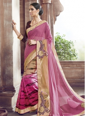 Perfect Beige and Rose Pink Traditional Saree For Casual
