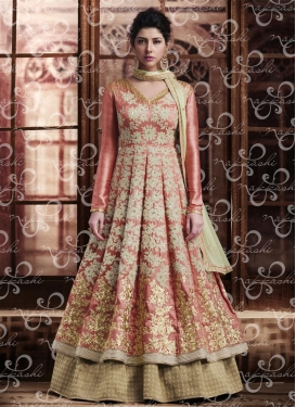 Perfect Beige and Salmon Banarasi Silk Kameez Style Lehenga Choli