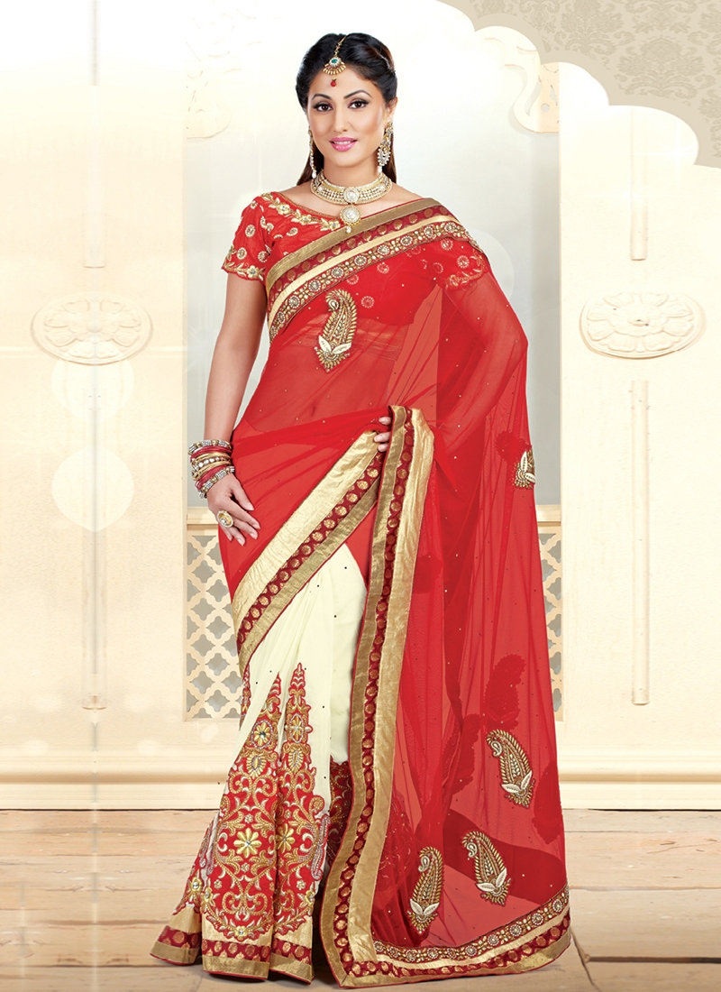 Perfect Cream And Red Color Half N Half Saree
