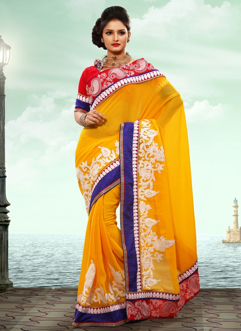 Perfect Gold And Red Party Wear Saree