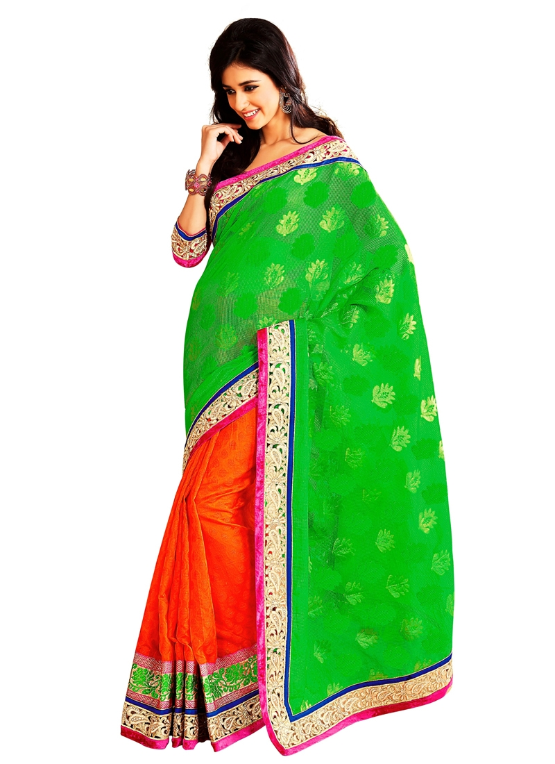 Perfect Green And Orange Color Half N Half Saree