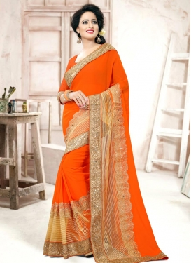 Perfect  Lace Work Designer Contemporary Saree