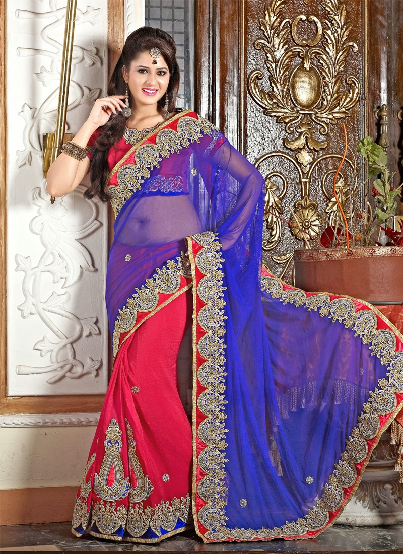 Perfect Net And Georgette Half N Half Saree