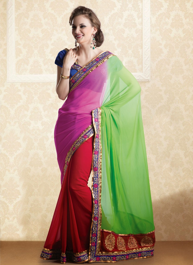 Perfect Red Rose Pink And Green Color Chiffon Party Wear Saree