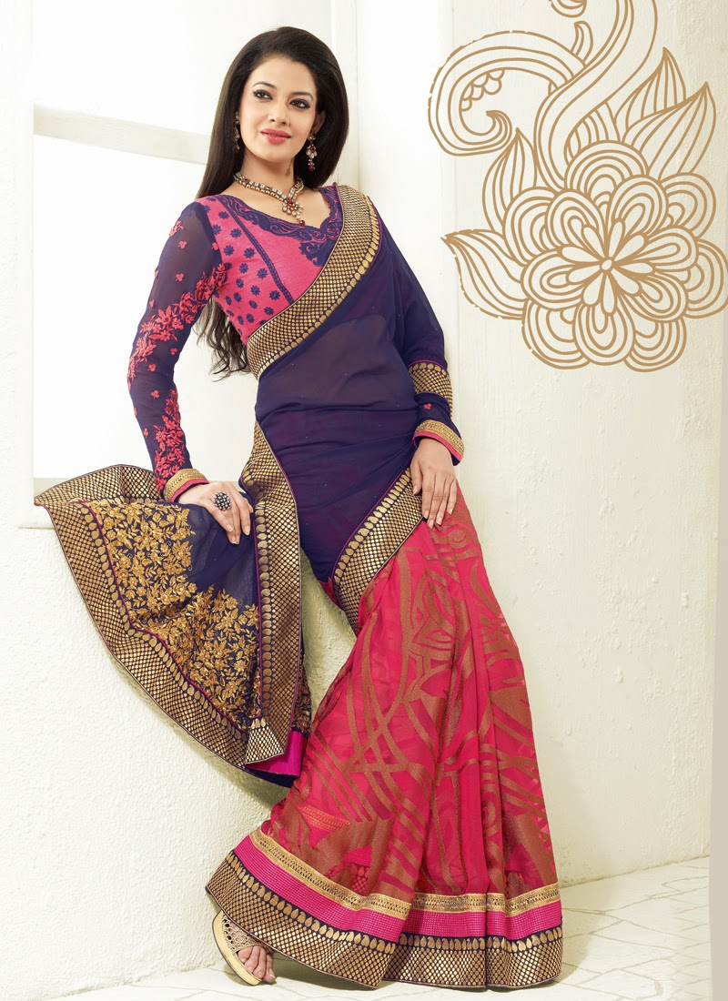 Perfect Resham And Patch Work Half N Half Saree