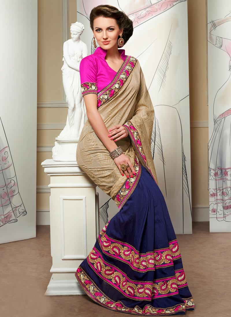 Perfect Resham Work Navy Blue Color Half N Half Designer Saree