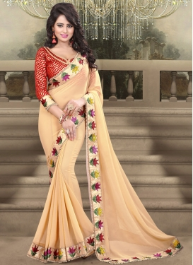 Perfervid Beads Work Beige Color Party Wear Saree