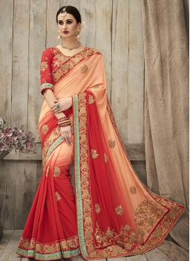 Perfervid Beads Work Silk Contemporary Style Saree