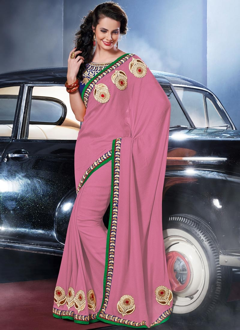 Perfervid Booti Work Pink Color Party Wear Saree